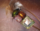 Colorful Gems Headband With Feathers (((((RESERVED FOR AMY))))