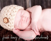 Cream Chunky Newborn Hat with Wooden Button