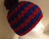 Kid Sized Wavy Beanie in Blue and Red