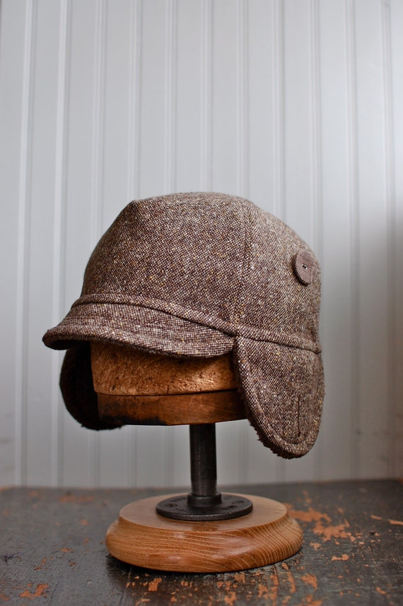 Brown wool tweed bike cap with ear flaps: mens ear flap hat, womens ear flap hat - small