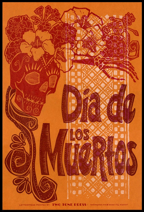 Dia de los Muertos : Orange Red Day of the Dead Letterpress Linocut poster