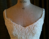 Suzette Vintage Remodeled Wedding gown Silk Organza with Chantilly Lace size small  or 4/6