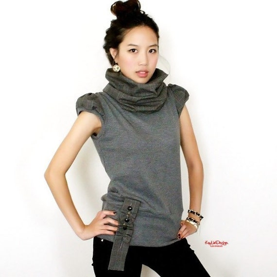 Cowl-neck puff sleeve knit top with ribbon accent - KT 293