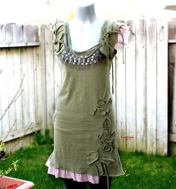 cotton jersey ruffle sleeve long top (mini dress) - KD 059
