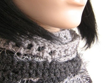 Long skinny scarf over 5ft long Shades of Grey hand crochet
