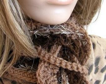 Long skinny scarf over 5 feet  long Chocolate Coffee Latte hand crochet