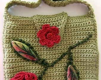 Green Shoulder Bag with Red Rose, hand crochet handbag with mixed media hand painted embellishments, OOAK purse design