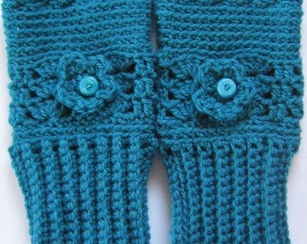 Fingerless Mittens Hand Crochet Gloves in blue with bead and flower embellishment