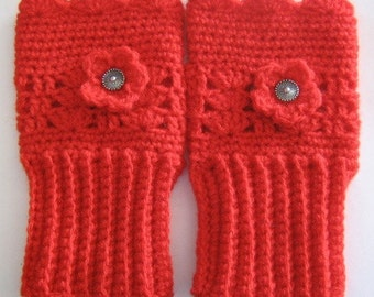 Fingerless Mittens hand crochet gloves in red with flower and button embellishment