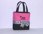 Hot Pink  Monogrammed/Personalized Tote, Purse, Bridesmaid Gift