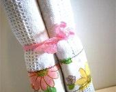 Vintage Fabrics Dishtowel Set 2/pk-Vintage-Pair-Cotton Dish Towels-Custom Handmade OOAK
