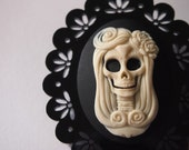 Day of the Dead Skull Cameo on Black Perspex Laser Cut Brooch