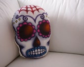 Hand Sewn Web Sugar Skull Cushion