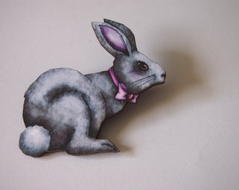 Grey Bunny in Pink Bow Laser Cut Wood Brooch