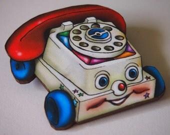 Chatter Phone Retro Laser Cut Wood Brooch