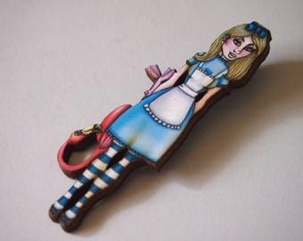 Alice and Flamingo Alice in Wonderland Laser Cut Wood Brooch