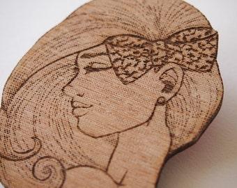 Raw Wood Girl in a Bow - Laser Cut Wood Brooch