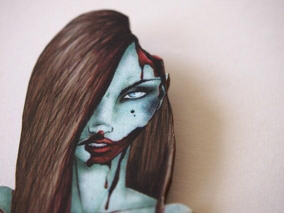 Zombie Girl Laser Cut Wood Brooch