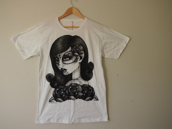 SALE LARGE Unisex Tee - White Day of the Dead Girl Print