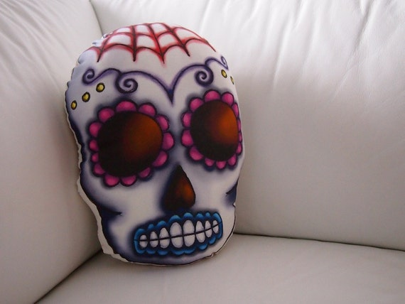 Items similar to Hand Sewn Web Sugar Skull Cushion on Etsy