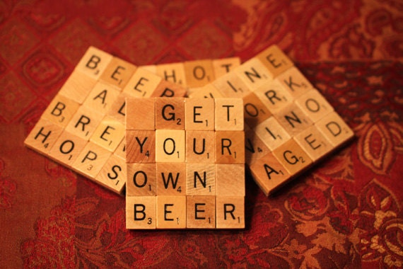 Scrabble Coasters with Recycled Wood Scrabble Tiles And Sturdy Game Board Backing Set Of Four HAPPY HOUR