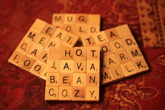 Scrabble Coasters With Recycled Wood Scrabble Tiles And Sturdy Backing Set Of Four WARM AND COZY
