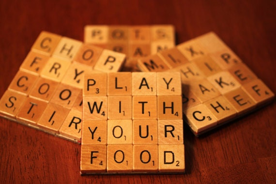 Coasters With Recycled Wood Scrabble Tiles And Sturdy Game Board Backing Set Of Four  TOP CHEF