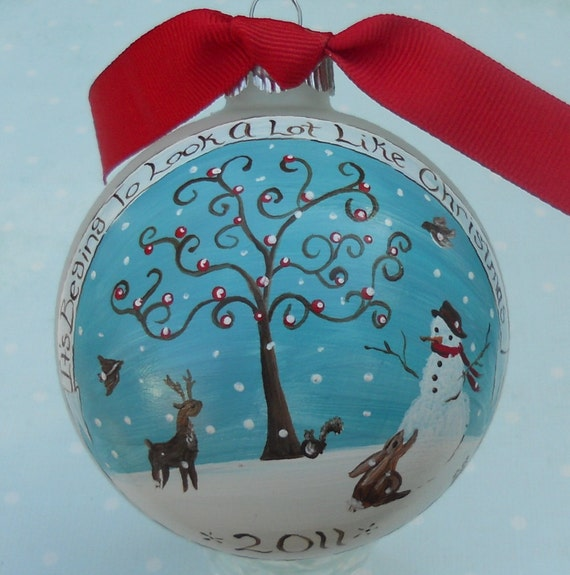 It's Begining to Look a Lot Like Christmas - Hand painted Glass Ball Ornament with Winter Landscape Scene