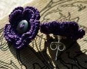 Merrill Crochet Flower Earrings- Violet