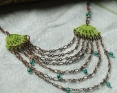 Edgewater Crochet Necklace- Green/Aqua