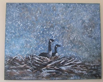 Nesting Geese Original Painting on Canvas