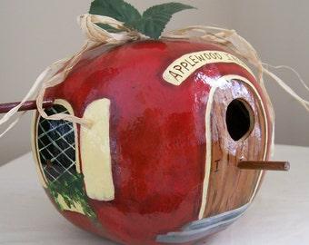 Apple Birdhouse Gourd Hand Painted Teacher's Pet