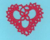 tatting tatted crazy quilt applique heart 10 thread valentine