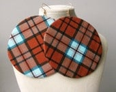 Burnt orange and blue plaid print fabric earrings- Large circle