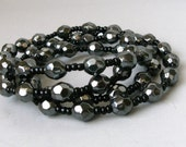 "32"" Hematite and black seed bead unisex necklace with no clasp"