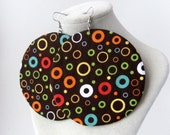Big circle little circle fabric earrings, earth tones
