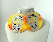 African mask print fabric earrings medium size