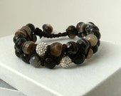 Double strand macrame unisex faceted brown and white agate beaded bracelet with 2 white pave beads