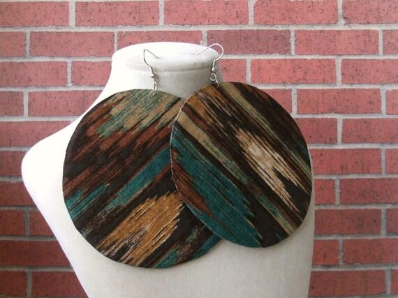 Native American Print Large fabric earrings
