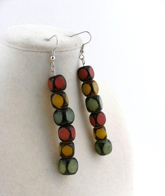 Red, yellow, green nut bead dangle earrings - Traffic light