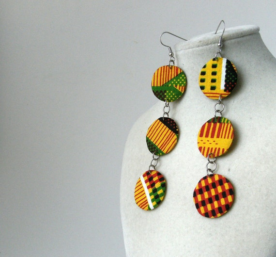 Triple circle dangle fabric earrings with kente cloth print