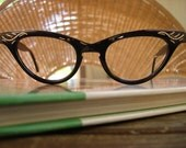 Vintage 50s Cat Eye Glasses NOS Deadstock Plastic Black with Silver Etching Aluminum Stella Ranae Vintage