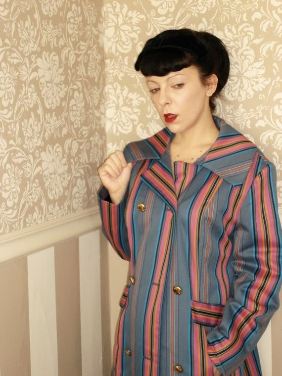UNISEX Spring Vintage Multi Striped Coat Burlesque Mod Steampunk Mens Ladies Small Medium MOD