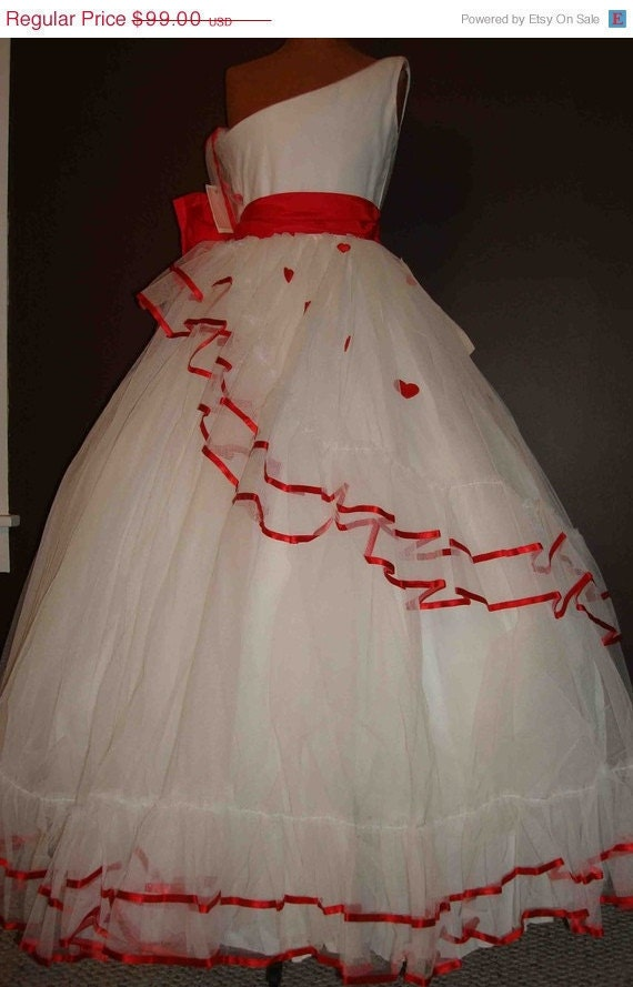 Free Us Shipping Vintage One Shoulder Red White 50S 80S Style Novelty Heart Gown Dress Cupcake Rockabilly