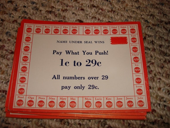 Vintage Bingo Punch Cards Lucky Cards Old Fashioned Games Names Set of 10