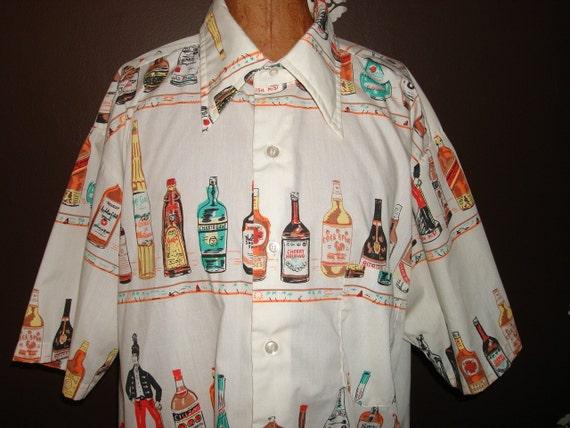 HOLD Diva1961 50s Mens Rockabilly Liquor Bottle BAR Shirt Tiki Luau  VLV Screenprint Novelty Print