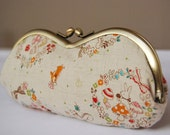 Wonderland Garden . cute eyeglass case with antique gold frame