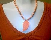 Orange Leaf Granola Kandi Necklace