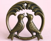 2pc Singing Lovebirds Charm, Hand Finished Antiqued Patina (WSB1)