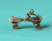 2pc Metal Roller Skate Charm, Hand Finished Antique Brass Patina (MRS1)